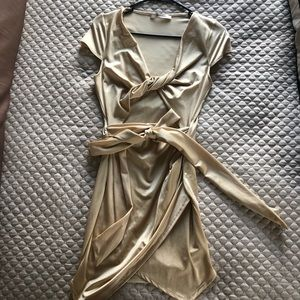 Champagne gold wrap style party dress